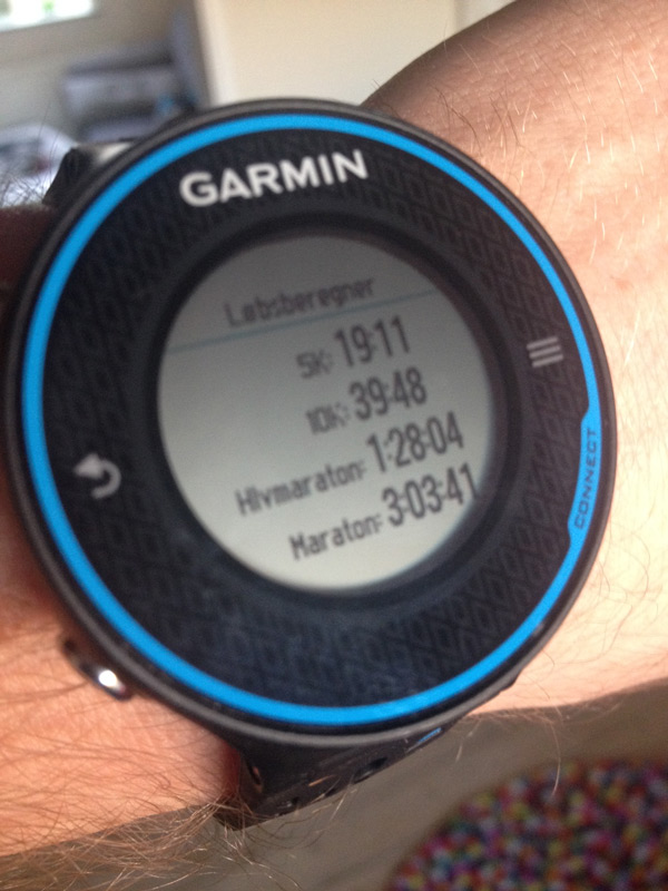 Garmin Forerunner 620 Race predictions
