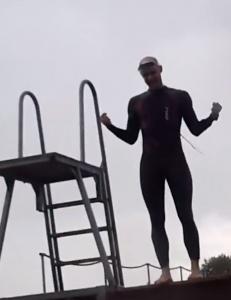 Første træning i åbent vand i Limfjorden ved Lindholm.